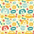 Bright seamless pattern with funny cat and dog — 图库矢量图片