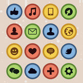Set of social media badges in vintage style - — Stock Vector