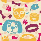 Patrón transparente brillante con perros y gatos graciosos — Vector de stock