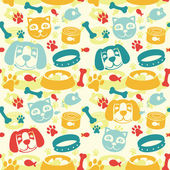 Bright seamless pattern with funny cat and dog — Stock Vector