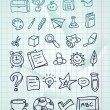 Vector icon set - hand drawn school doodles — Stock Vector
