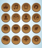 Leather labels with social media icons — Stock Vector