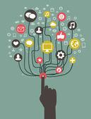 Vector il concetto di internet - con icone social media — Vettoriale Stock