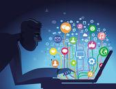 Internet kavramı vektör — Stok Vektör