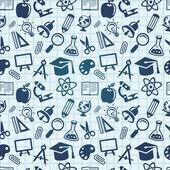 Padrão sem emenda de vetor com ícones de educação — Vetor de Stock