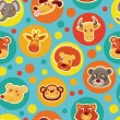 Funny seamless pattern with cartoon animal heads - Stock Vector