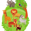 Funny cartoon animals in green jungle — Stock Vector