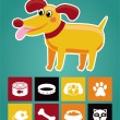 Funny cartoon dog and icons — Stock Vector