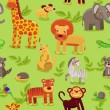 Stock Vector: Vector seamless pattern with cartoon animals