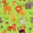 Vector seamless pattern with cartoon animals — Stock Vector #11489079