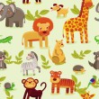 Vector seamless pattern with cartoon animals — Stock Vector