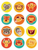 Vector funny animal heads — Stock Vector
