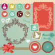 Stock Vector: Collection of vintage design elements