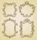 Set with 4 vintage frames with copy space for text — Stock Vector
