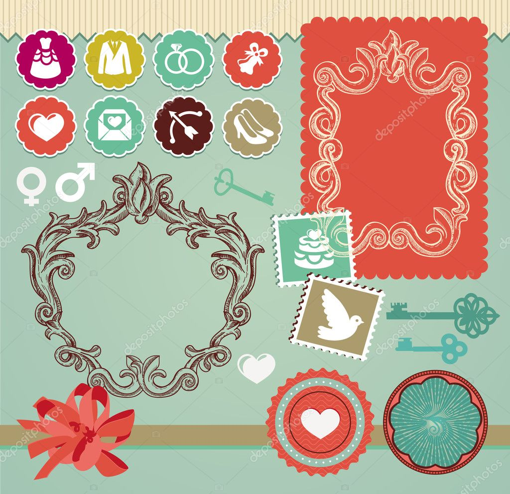 Collection of vintage design elements - for wedding invitations and cards — Stock Vector #11650983