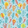 Stock Vector: Vector seamless pattern with cartoon ice cream