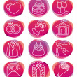 Set with wedding icons — Stock Vector