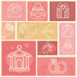 Design elements with wedding and love icons — Vector de stock