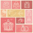 Design elements with wedding and love icons — Stock Vector