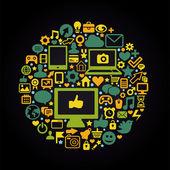 Turno il concetto di media sociali — Vettoriale Stock