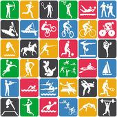 Patrones sin fisuras con los iconos del deporte — Vector de stock