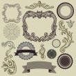 Collection of vintage design elements - Stock Vector