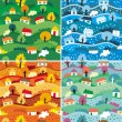 Seamless patterns with 4 seasons - Stock Vector