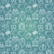 Vector seamless pattern with wedding icons — Stok Vektör