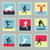 Set of vector stamps with sport icons — Stock Vector