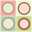Vector set with circle frames for wedding invitation — Stock Vector