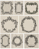 Set of vintage frames and design elements — Stok Vektör