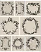 Set van vintage frames en ontwerpelementen — Stockvector