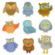 Collection of vector cartoon owls — Stock Vector