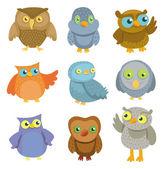 Collection of vector cartoon owls — Stock Vector