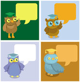 Vector cute owl with speech bubbles — Stock Vector