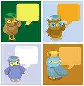 Vector cute owl with speech bubbles — Stock Vector