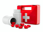 First aid and hearts on white background. Isolated 3D image — Foto de Stock