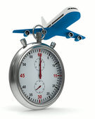 Stopwatch and airplane on white background. Isolated 3D image — Stock Photo