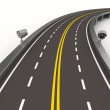 Asphalted road with camera on white. Isolated 3D image — Stock Photo