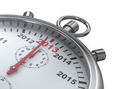 Year calendar on stopwatch. Isolated 3D image — Stock Photo