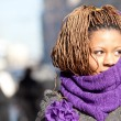 Woman with purple scarf — Stock Photo