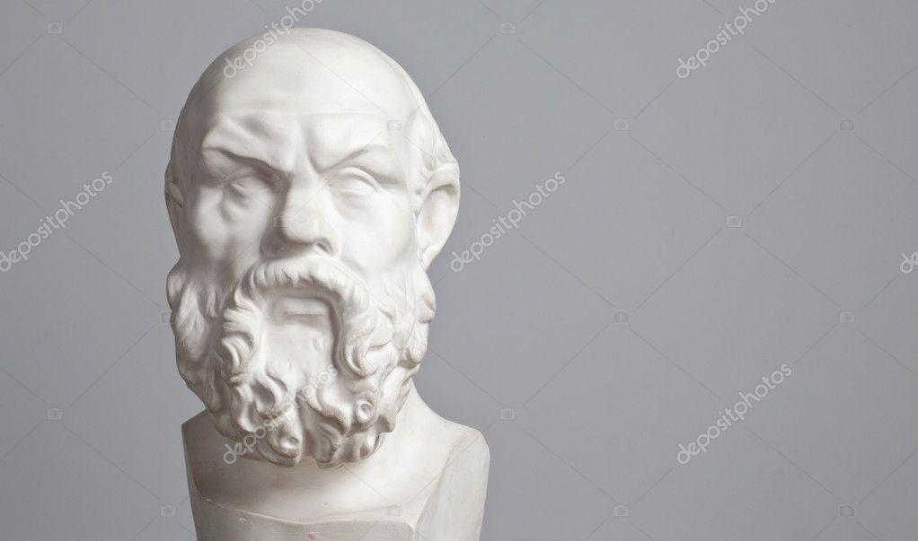 Plaster head, sculpture of an elderly bearded man head in plaster for training photographers and artists — Stock Photo #11657765