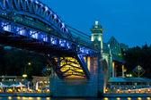 Andreevsky Bridge in to night — Stock Photo