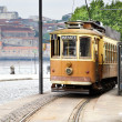 Old yellow tram — Stock Photo