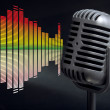 Retro microphone with audio wave - Stock Photo