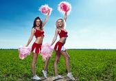 Twee schoonheid cheerleader — Foto de Stock