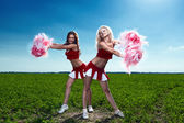 Two beauty cheerleader — Stock Photo