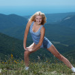 Woman doing exercises — Stock Photo