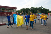 Ukrainian supporters in Kharkov, Ukraine — Stock Photo