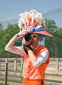 Holland football fan with camera — Stock Photo